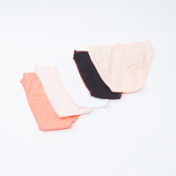 Set of 5 - Plain High Leg Briefs with Lace Detail