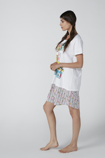 Printed Sleep Dress with Striped Mock Hem