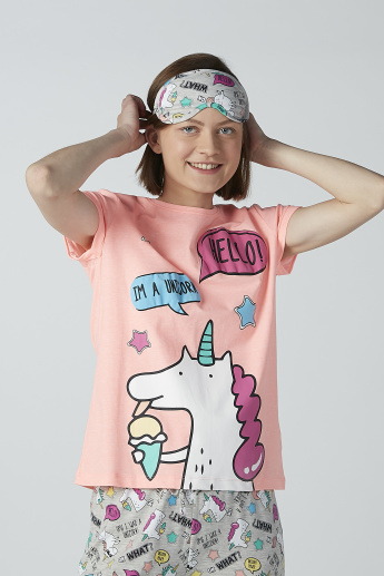 Printed Short Sleeves T-shirt and Pyjama Set with Eye-Mask
