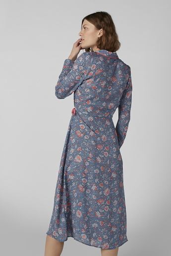 Printed Wrap Midi Night Dress with Long Sleeves and Tie Ups