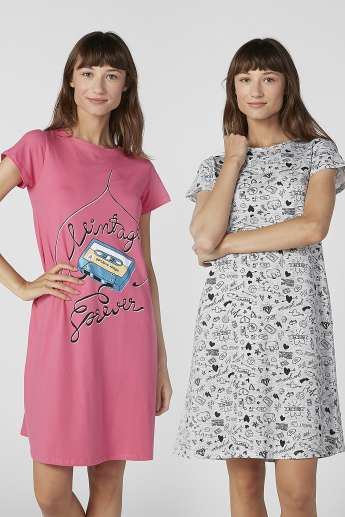 Set of 2 - Printed Sleep Dress with Round Neck and Short Sleeves
