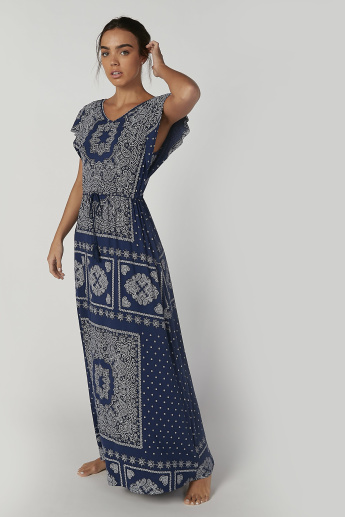 Printed Maxi Night Dress with V-neck and Tie Ups