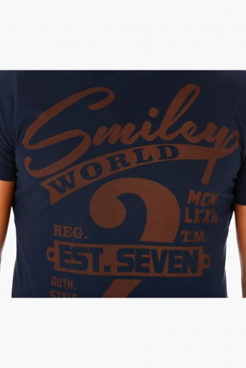 Smiley World Printed Cotton T-Shirt with Short Sleeves