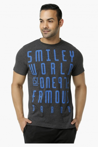 Smiley World Printed Melange T-Shirt in Regular Fit