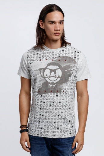 Smiley World Printed Short Sleeves T-Shirt with Crew Neck
