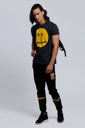 Smiley World Graphic Print T-Shirt with Round Neck and Short Sleeves