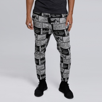 Smiley World Printed Full Length Jog Pants with Snug Fitted Cuffs
