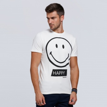 Smiley World Printed Short Sleeves T-Shirt with Round Neck