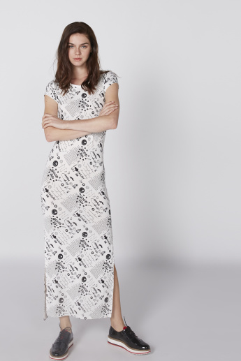 Smiley World Printed Maxi Dress with Round Neck and Cap Sleeves