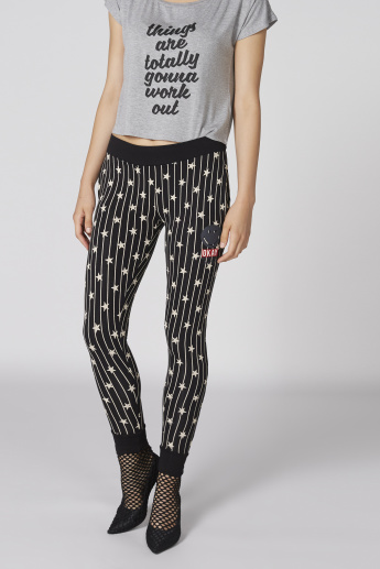 Smiley World Printed Full Length Jog Pants with Pocket Detail