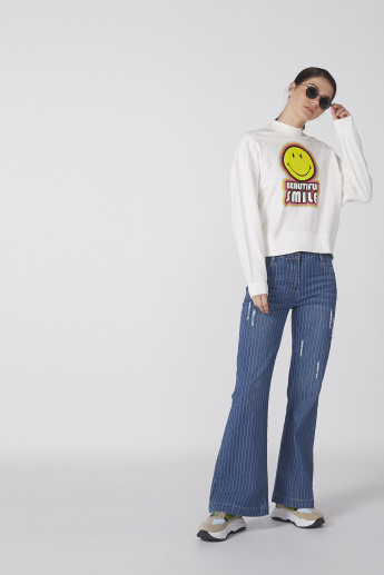 Smiley World Printed Sweatshirt with High Neck and Long Sleeves