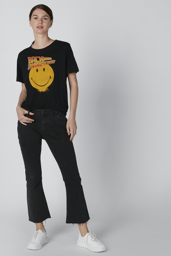 Sustainability Smiley World Printed T-shirt with Short Sleeves