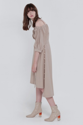 Cold Shoulder Dress with 3/4 Sleeves
