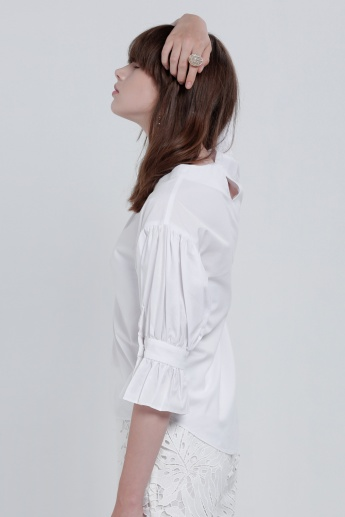 Frilled Sleeves Top with Key Hole Closure