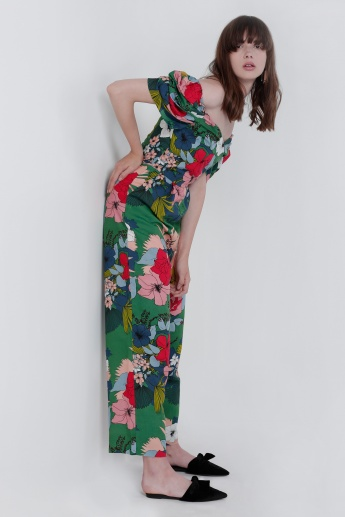 Printed Full Length Off Shoulder Jumpsuit