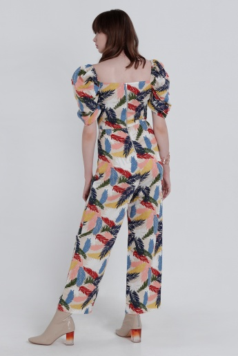 Printed Full Length Jumpsuit with Short Sleeves and Pocket Detail