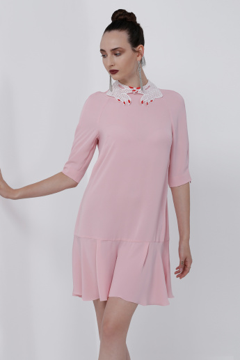 Midi Dress with Lace Detail and Frilled Hem
