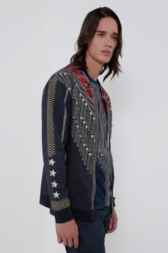 Embellished Long Sleeves Jacket with Zip Closure