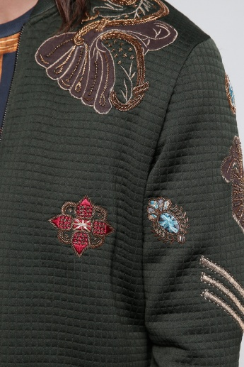 Embroidered Jacket with Zip Closure and Long Sleeves