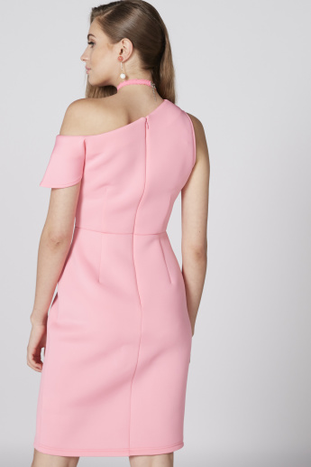 One Shoulder Midi Dress with Zip Closure