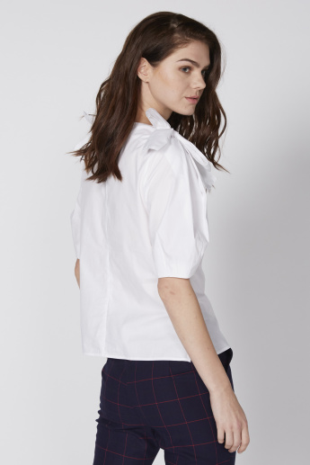 Round Neck Top with Short Sleeves and Tie Up Detail