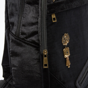 Embellished Backpack with Zip Closure and Adjustable Shoulder Straps