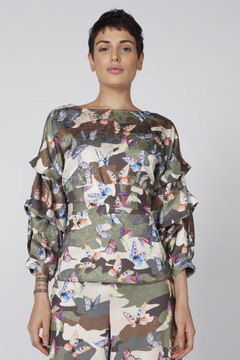 Printed Top with Round Neck and Long Sleeves