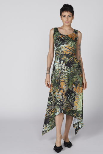 Printed Sleeveless Maxi Dress with Boat Neck and Assymetrical Hem