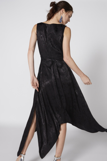Textured Sleeveless Dress with Asymmetric Hem and Tie Up Belt