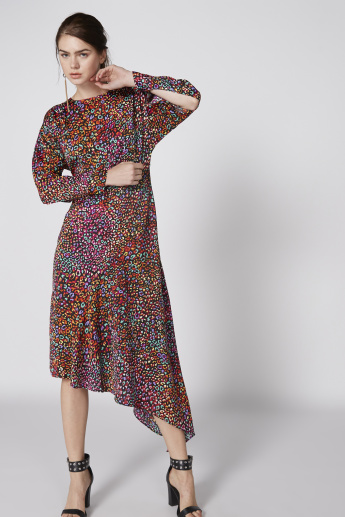 Printed Dress with Long Sleeves and Asymmetric Hem