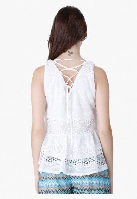 Lace Tunic Top with String Tie-up Back