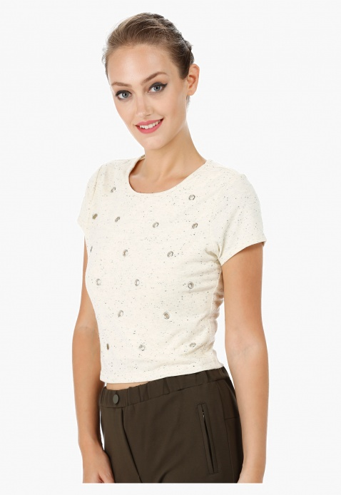 Eyelet Embellished Crop Top
