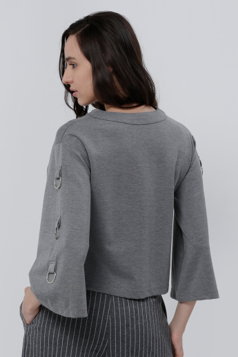 Long Sleeves Top with Round Neck