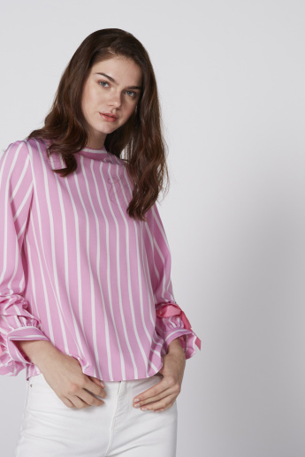 Striped Top with Round Neck and Balloon Sleeves