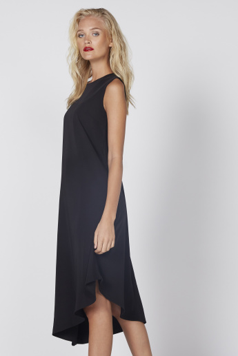 Midi Dress with Round Neck and Assymetrical Hem