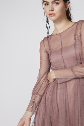 Fit and Flare Mesh Midi Dress with Full Sleeves