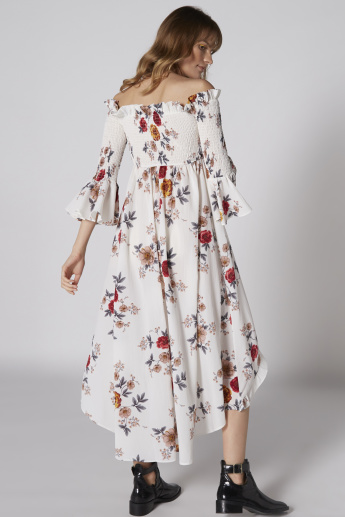 Off Shoulder Printed Maxi Dress with Asymmetric Hem