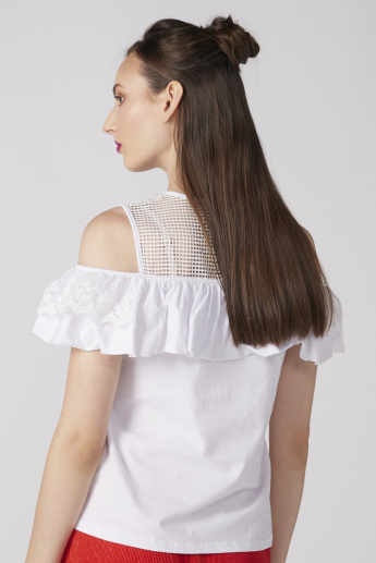 Cold Shoulder Top with Round Neck and Lace Detail