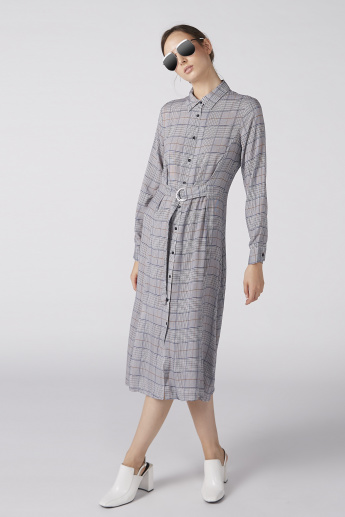 Chequered Shirt Dress with Long Sleeves and Complete Placket