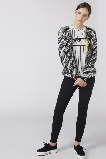 Striped Ribbon Detail Top with Round Neck and Drop Shoulder Sleeves
