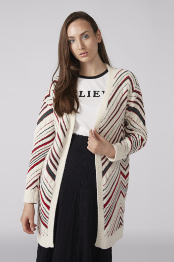 Textured Open Front Cardigan with Long Sleeves and Ribbed Detail