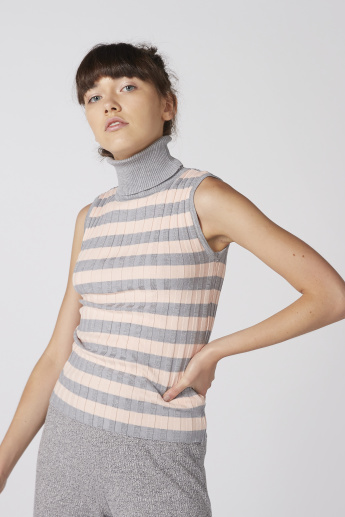 Striped Sleeveless Top with Turtleneck and Ribbed Texture