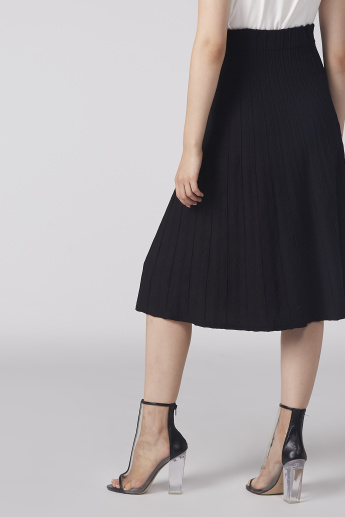 Textured A-Line Midi Skirt with Elasticised Waistband