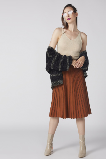 Textured Midi Skirt with Elasticised Waistband
