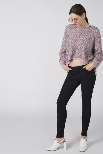 Textured Sweater with Long Sleeves and High Low Hem