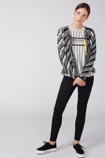 Textured Open Front Shrug with Long Sleeves and Fringes
