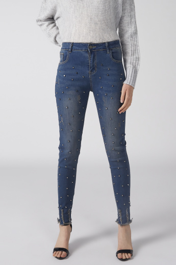 Studded Jeans with Button Closure and Pocket Detail