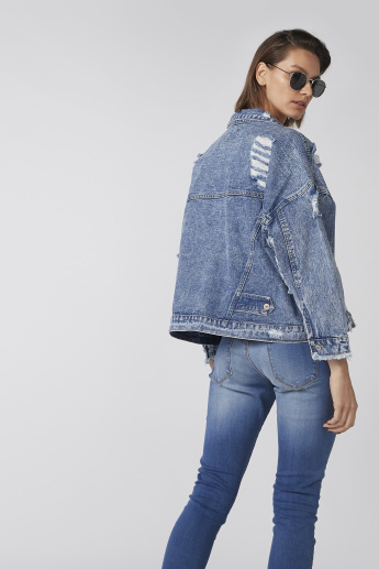 Distressed Denim Jacket with Long Sleeves