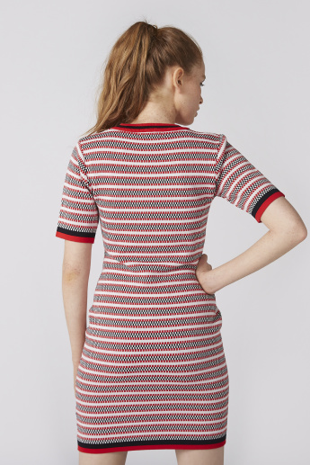 Textured Bodycon Mini Dress with Short Sleeves