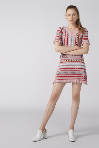 Textured Mini A-Line Dress with Short Sleeves